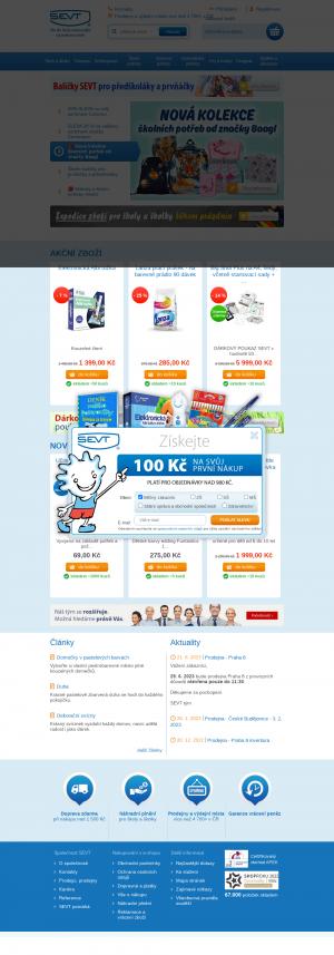 Vzled internetové stránky obchodu SEVT