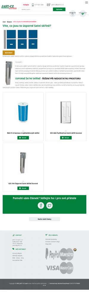 Vzled internetové stránky obchodu JAST-CZ