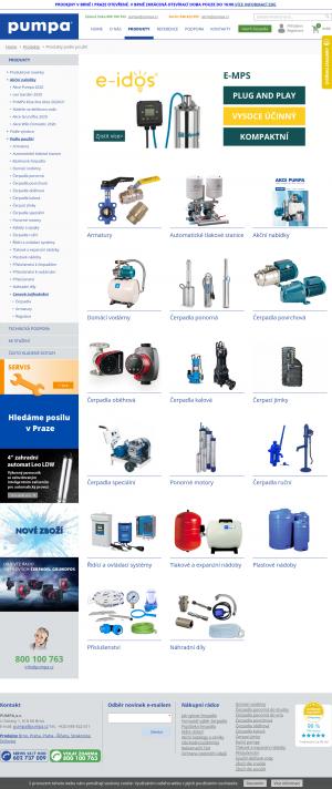 Vzled internetové stránky obchodu pumpa