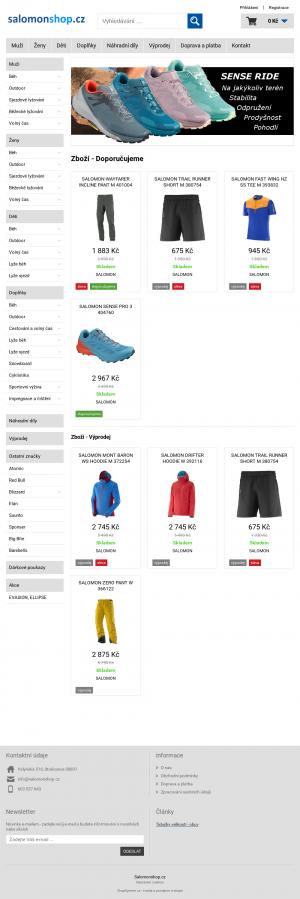 Vzled internetové stránky obchodu Salomon shop