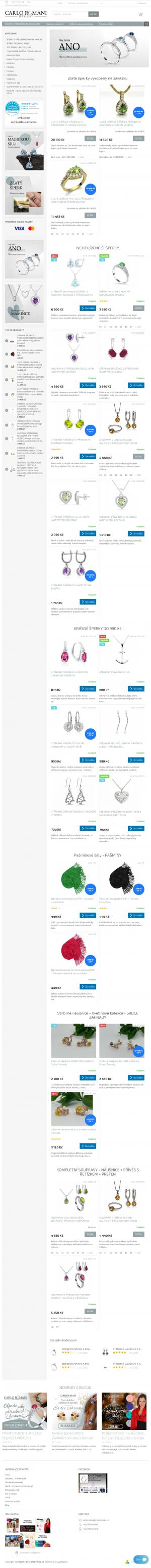 Vzled internetové stránky obchodu Carlo Romani Jewellery