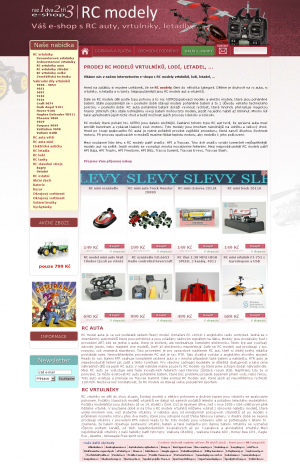 Vzled internetové stránky obchodu RC modely