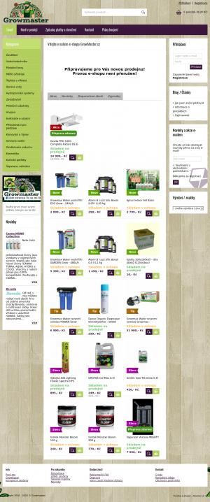Vzled internetové stránky obchodu Growshop Zelený Samet