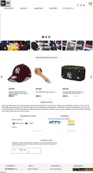 Vzled internetové stránky obchodu New Era shop.cz