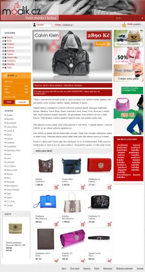 Vzled internetové stránky obchodu modik.cz