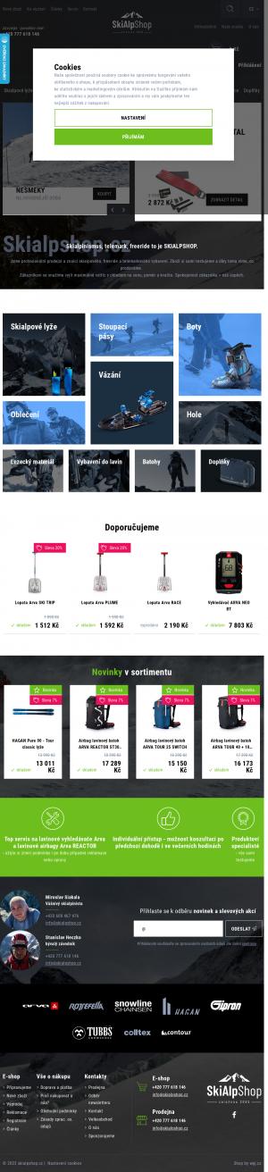 Vzled internetové stránky obchodu Skialp shop.cz
