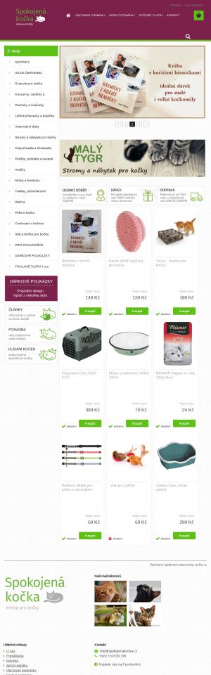 Vzled internetové stránky obchodu Spokojená kočka
