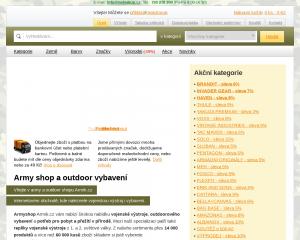 Vzled internetové stránky obchodu ArmyAs.cz