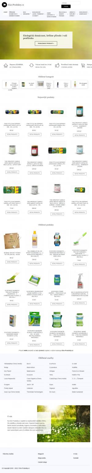 Vzled internetové stránky obchodu Eko-Produkty.Cz