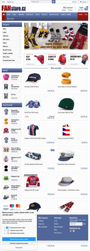 Vzled internetové stránky obchodu Fanstore.cz
