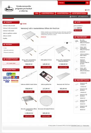 Vzled internetové stránky obchodu Deos