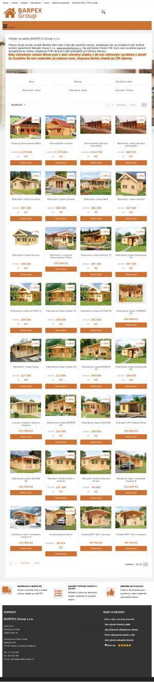 Vzled internetové stránky obchodu Chatky Sauny CZ