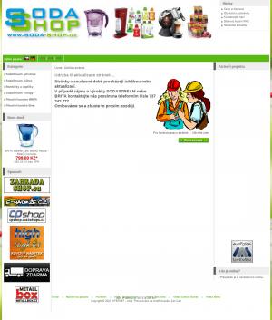 Vzled internetové stránky obchodu SODA-shop - domácí sodovkárna