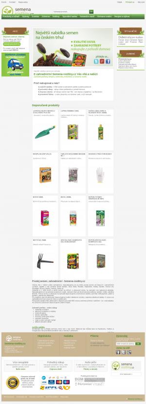 Vzled internetové stránky obchodu Semena-rostliny.cz