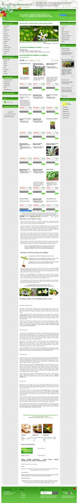 Vzled internetové stránky obchodu Rostliny a semena