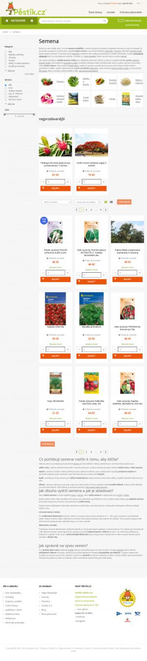 Vzled internetové stránky obchodu Osivo-semena.cz