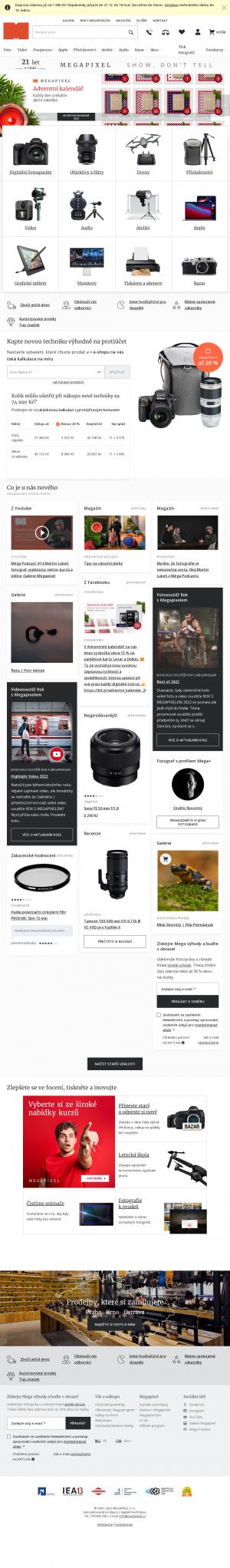 Vzled internetové stránky obchodu MEGAPIXEL.cz