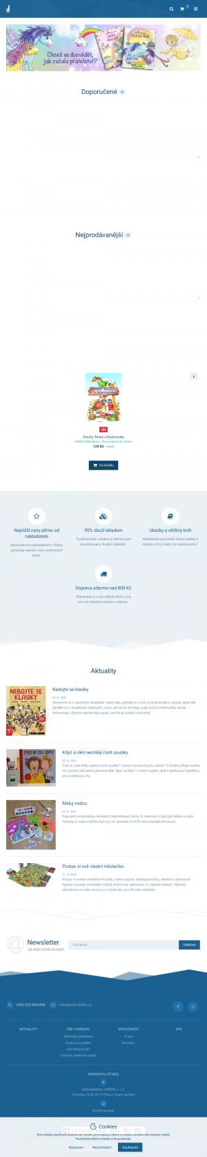 Vzled internetové stránky obchodu Nakladatelství JUNIOR