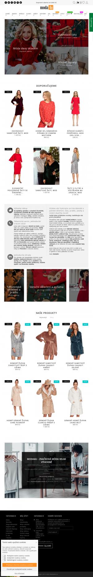 Vzled internetové stránky obchodu Moda4U.cz - Značková móda levně