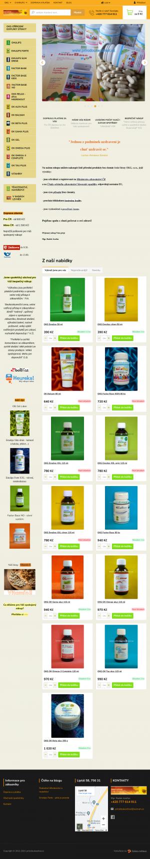 Vzled internetové stránky obchodu Zdraví z přírody