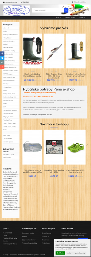 Vzled internetové stránky obchodu Rybářské potřeby PENE