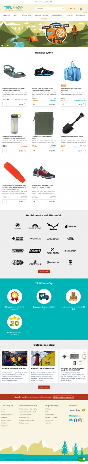 Vzled internetové stránky obchodu Trekshop - outdoorové vybavení