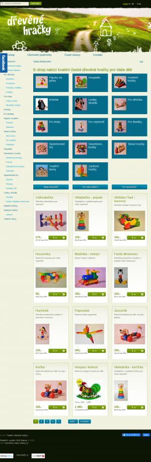 Vzled internetové stránky obchodu Tradiční dřevěné hračky