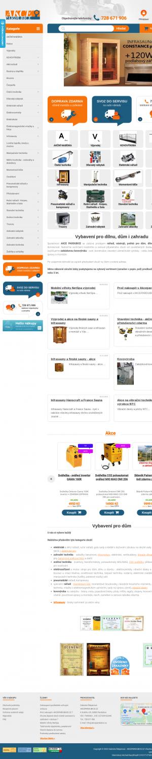 Vzled internetové stránky obchodu AkcePardubice.cz