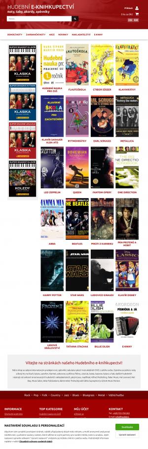 Vzled internetové stránky obchodu Hudební e-knihkupectví