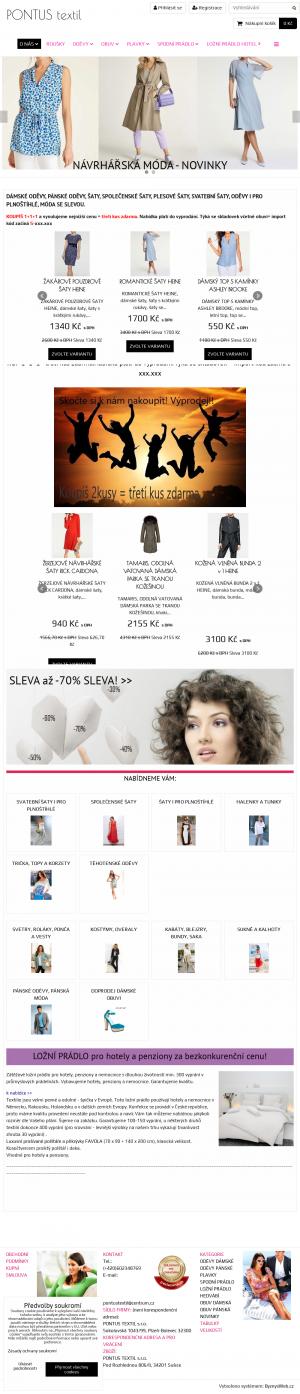 Vzled internetové stránky obchodu Pontus textil s.r.o.