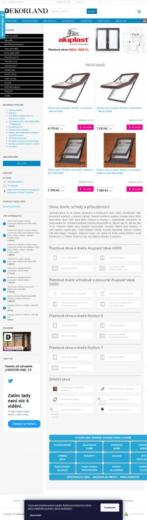 Vzled internetové stránky obchodu Dekorland.cz
