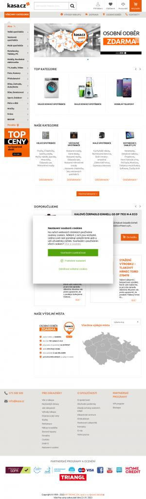 Vzled internetové stránky obchodu kasa.cz