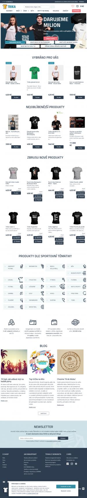 Vzled internetové stránky obchodu TRIKATOR.CZ