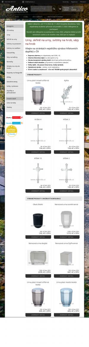 Vzled internetové stránky obchodu Na hrob