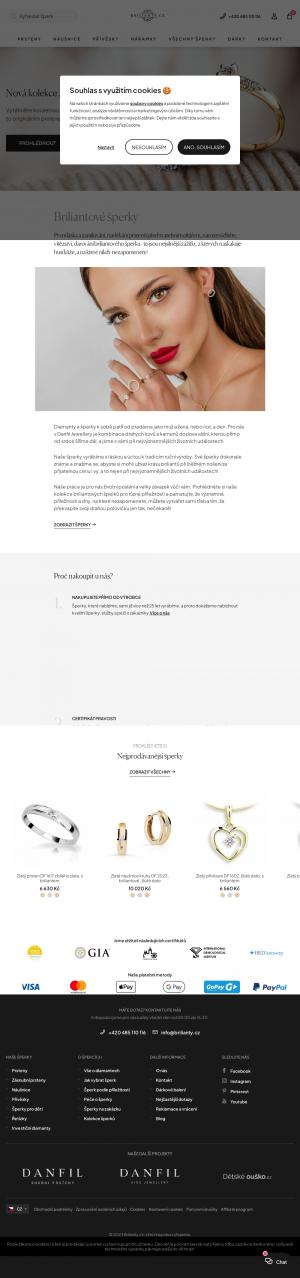 Vzled internetové stránky obchodu Brilianty.cz - diamantové šperky