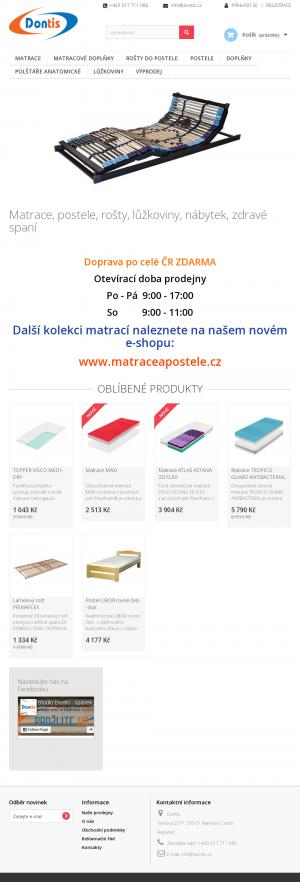Vzled internetové stránky obchodu Dontis