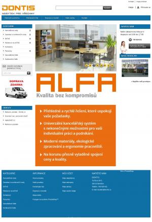 Vzled internetové stránky obchodu Dontis - kancelářský nábytek