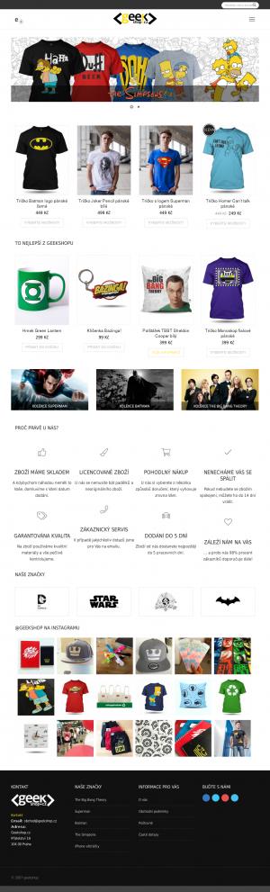 Vzled internetové stránky obchodu Geekshop.cz
