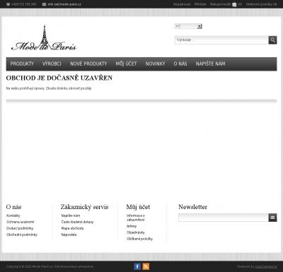 Vzled internetové stránky obchodu Mode de Paris