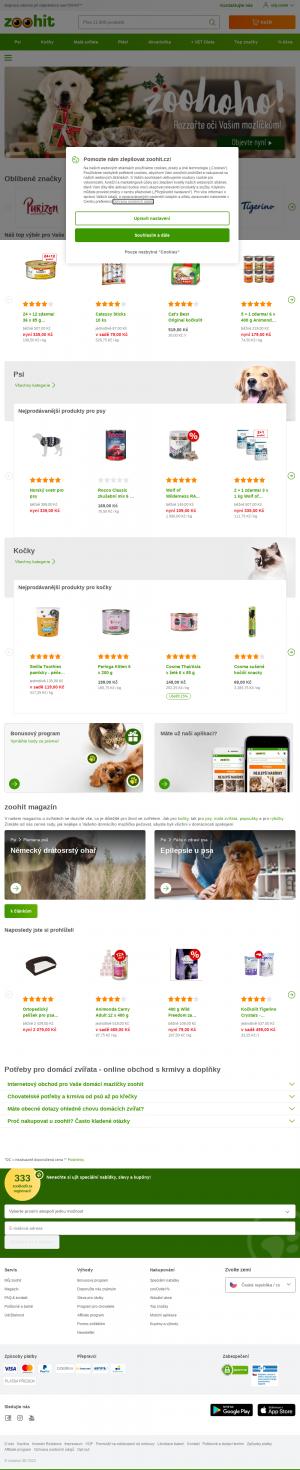 Vzled internetové stránky obchodu Zoohit