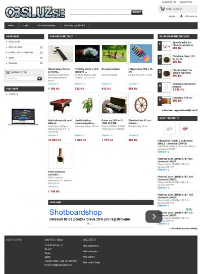 Vzled internetové stránky obchodu ObsluzSe