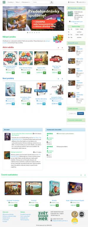 Vzled internetové stránky obchodu Svět deskových her