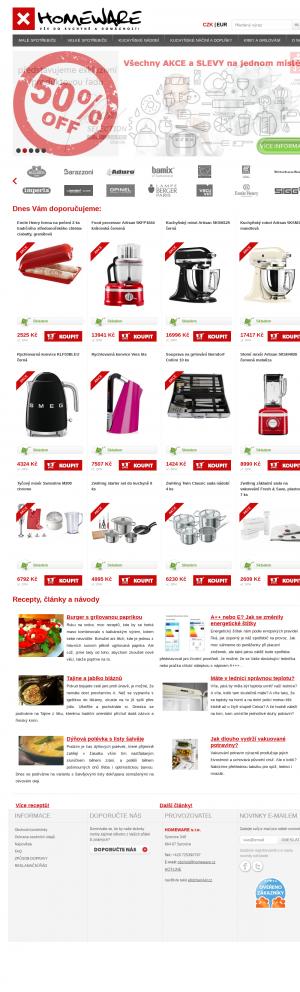 Vzled internetové stránky obchodu HOMEWARE s.r.o.
