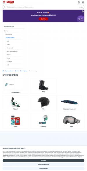 Vzled internetové stránky obchodu Snowboards