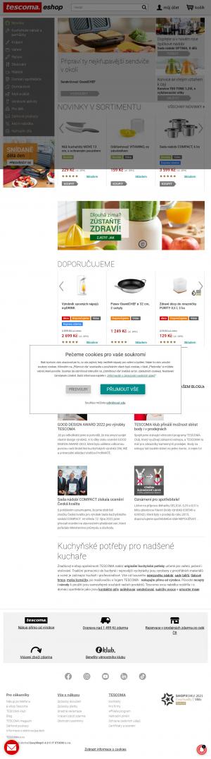 Vzled internetové stránky obchodu Tescoma.cz