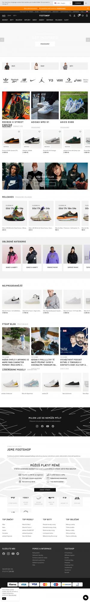 Vzled internetové stránky obchodu Footshop