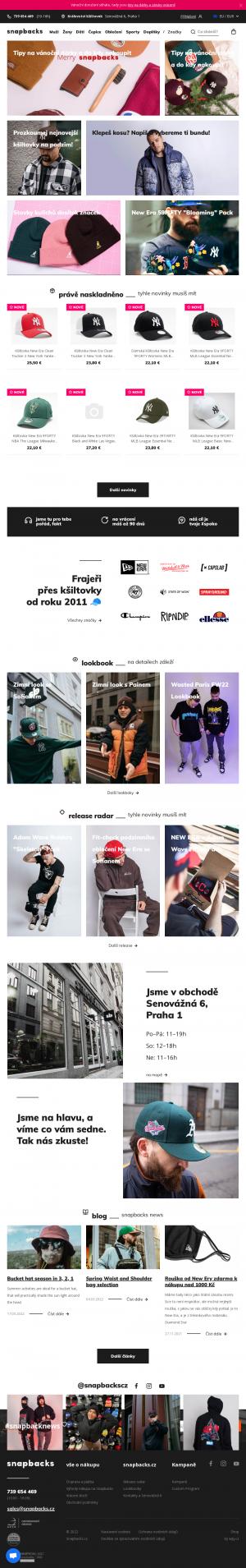 Vzled internetové stránky obchodu Snapbacks