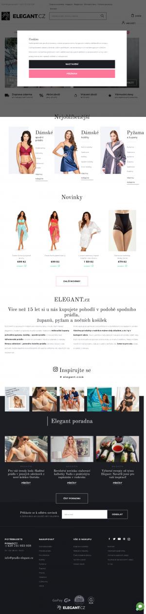 Vzled internetové stránky obchodu PRÁDLO-ELEGANT