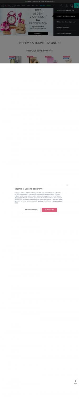 Vzled internetové stránky obchodu Parfémy Elnino.cz
