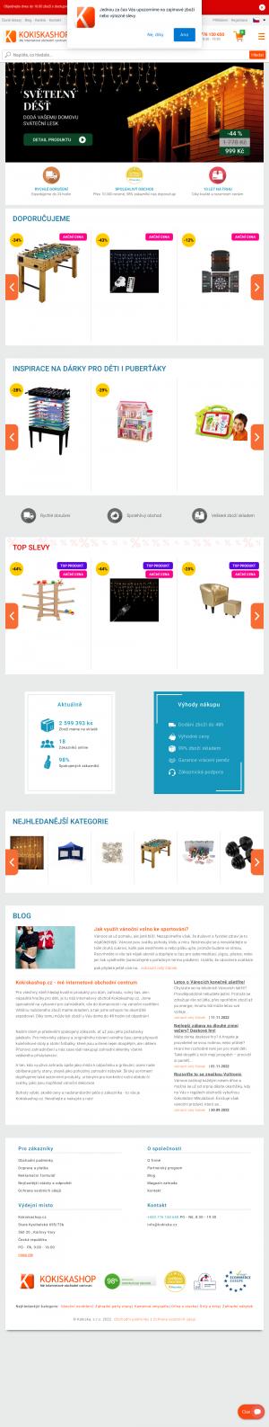 Vzled internetové stránky obchodu Kokiskashop